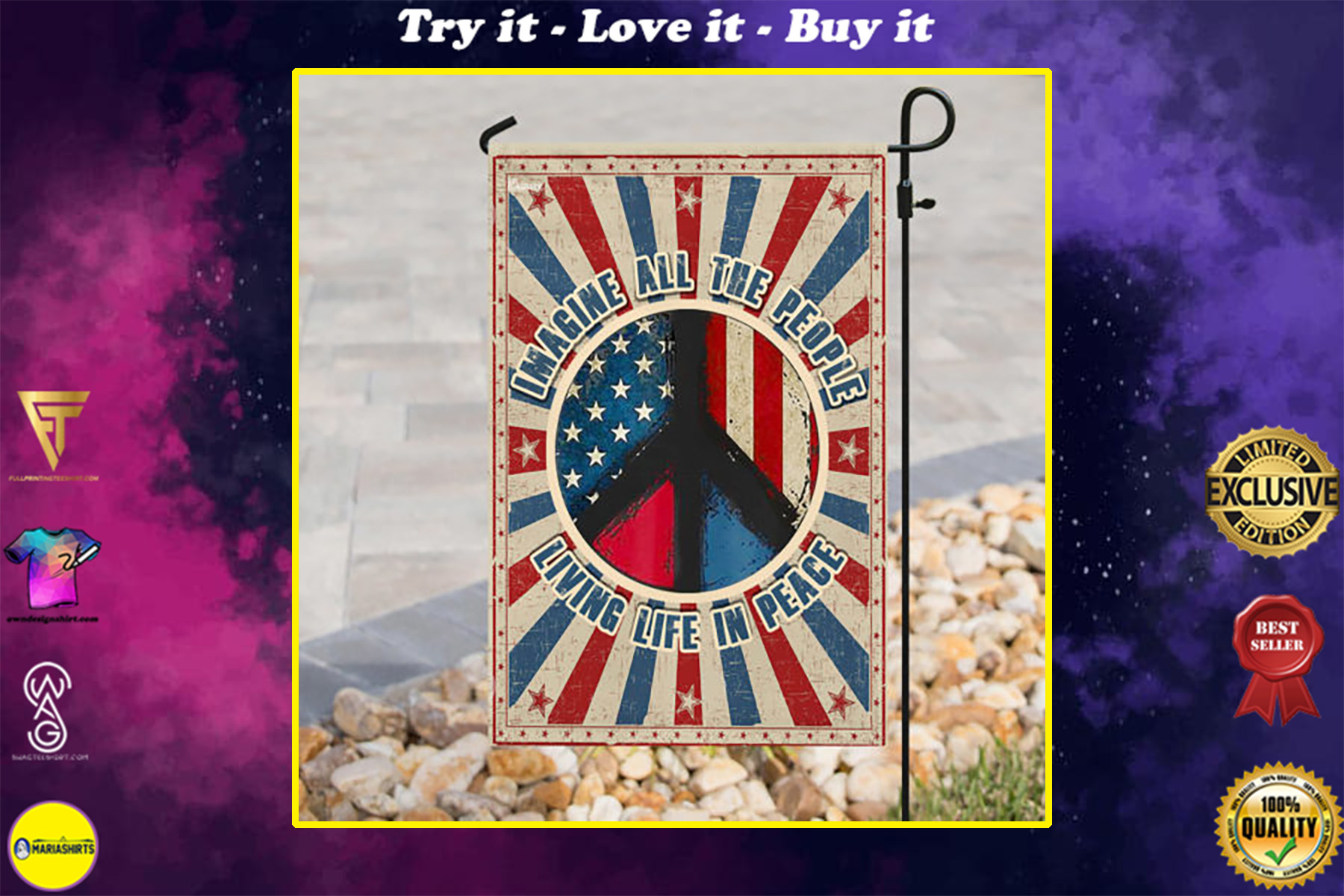 vintage imagine all the people living life in peace all over print flag