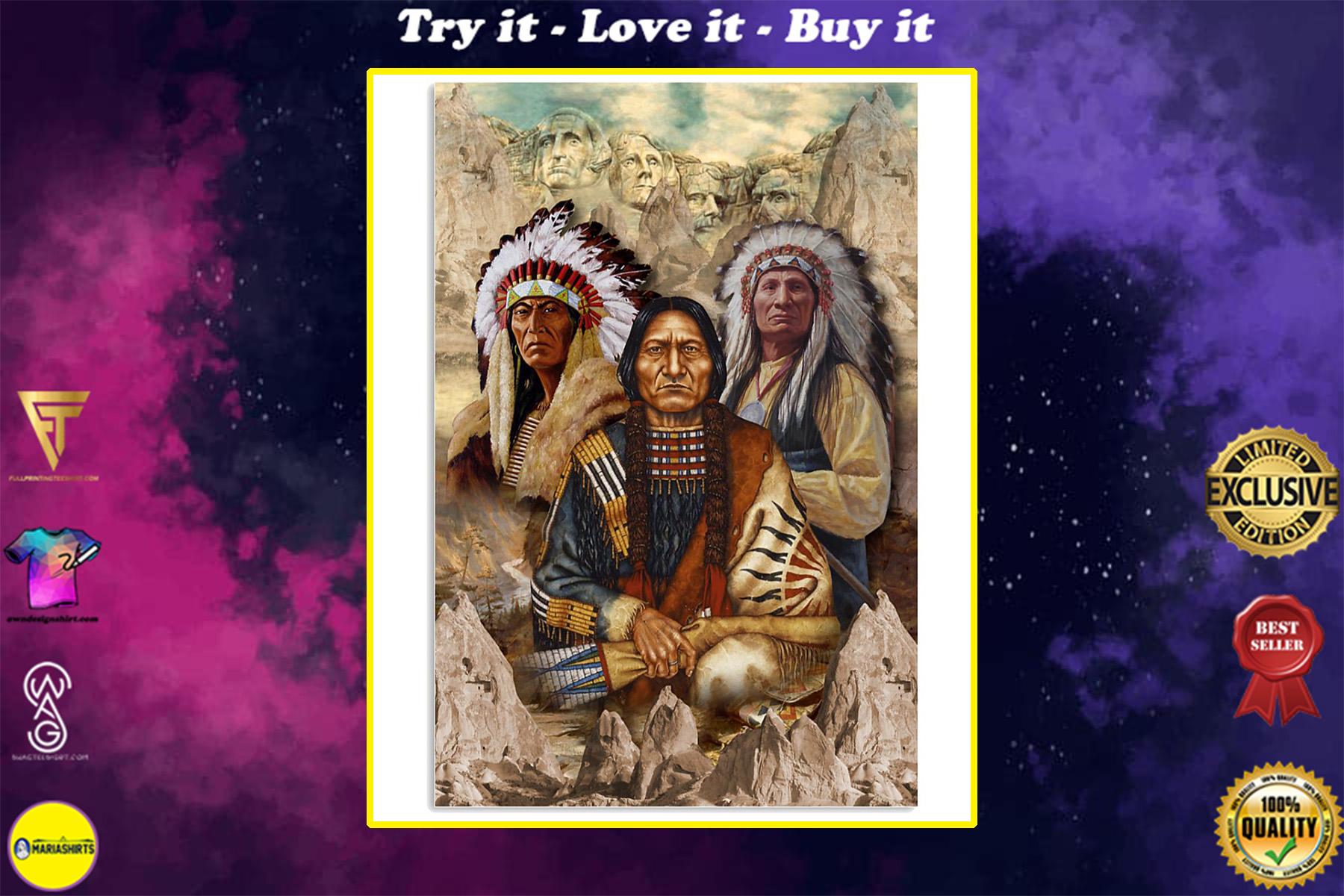 vintage indigenous man native american poster