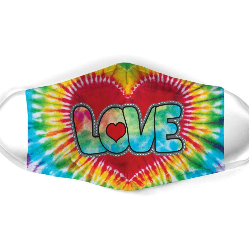 vintage love hippie tie dye all over print face mask 1