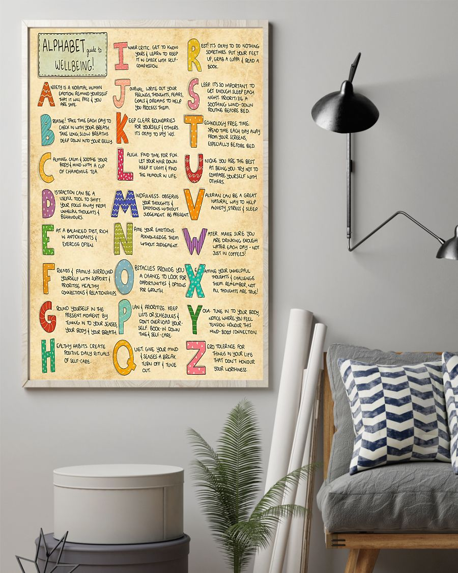 vintage social worker alphabet guide to wellbeing poster 2