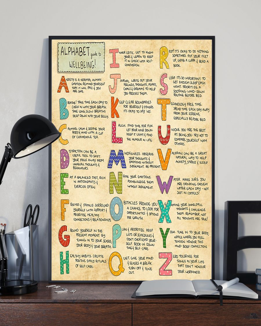 vintage social worker alphabet guide to wellbeing poster 3
