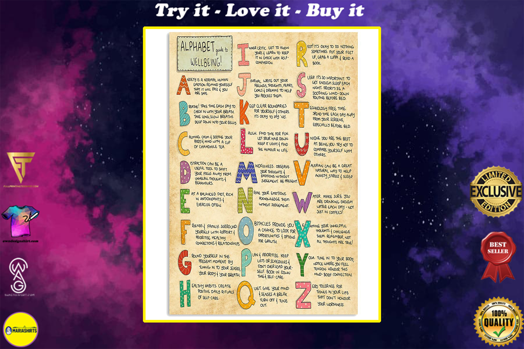 vintage social worker alphabet guide to wellbeing poster