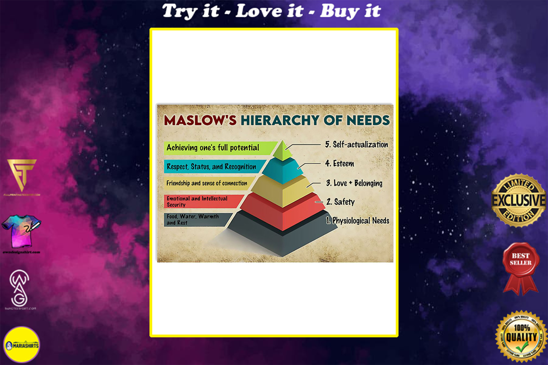 vintage social worker maslows hierarchy of needs poster