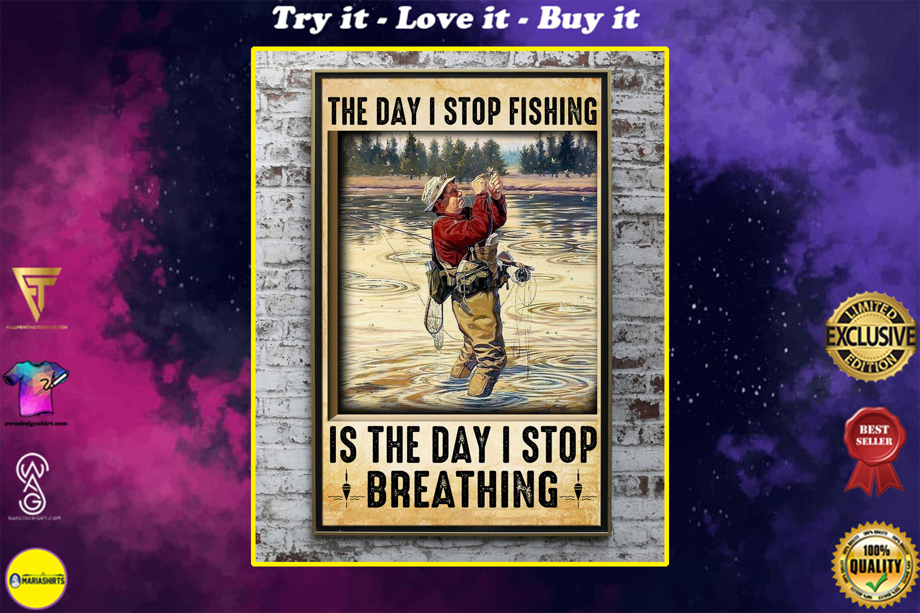 vintage the day i stop fishing is the day i stop breathing old man poster