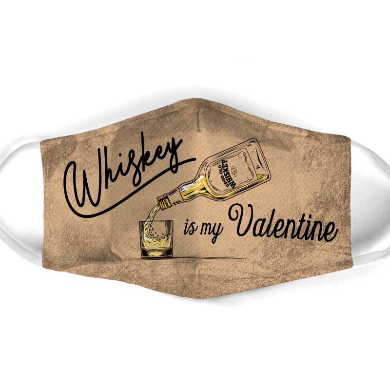 vintage whiskey is my valentine all over print face mask 1