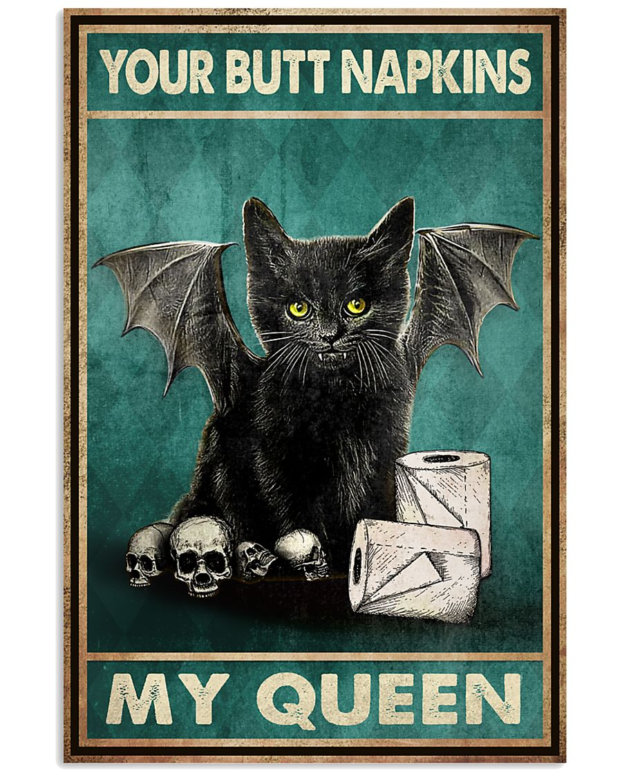 vintage your butt napkins my queen black cat lover poster 2