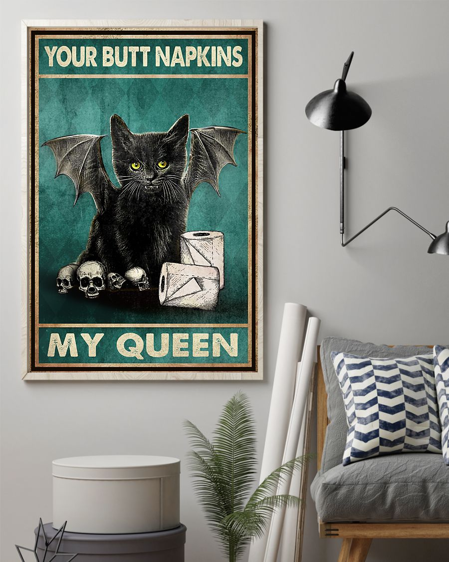 vintage your butt napkins my queen black cat lover poster 3
