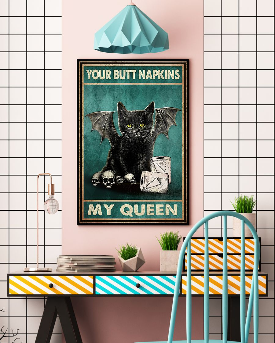 vintage your butt napkins my queen black cat lover poster 5