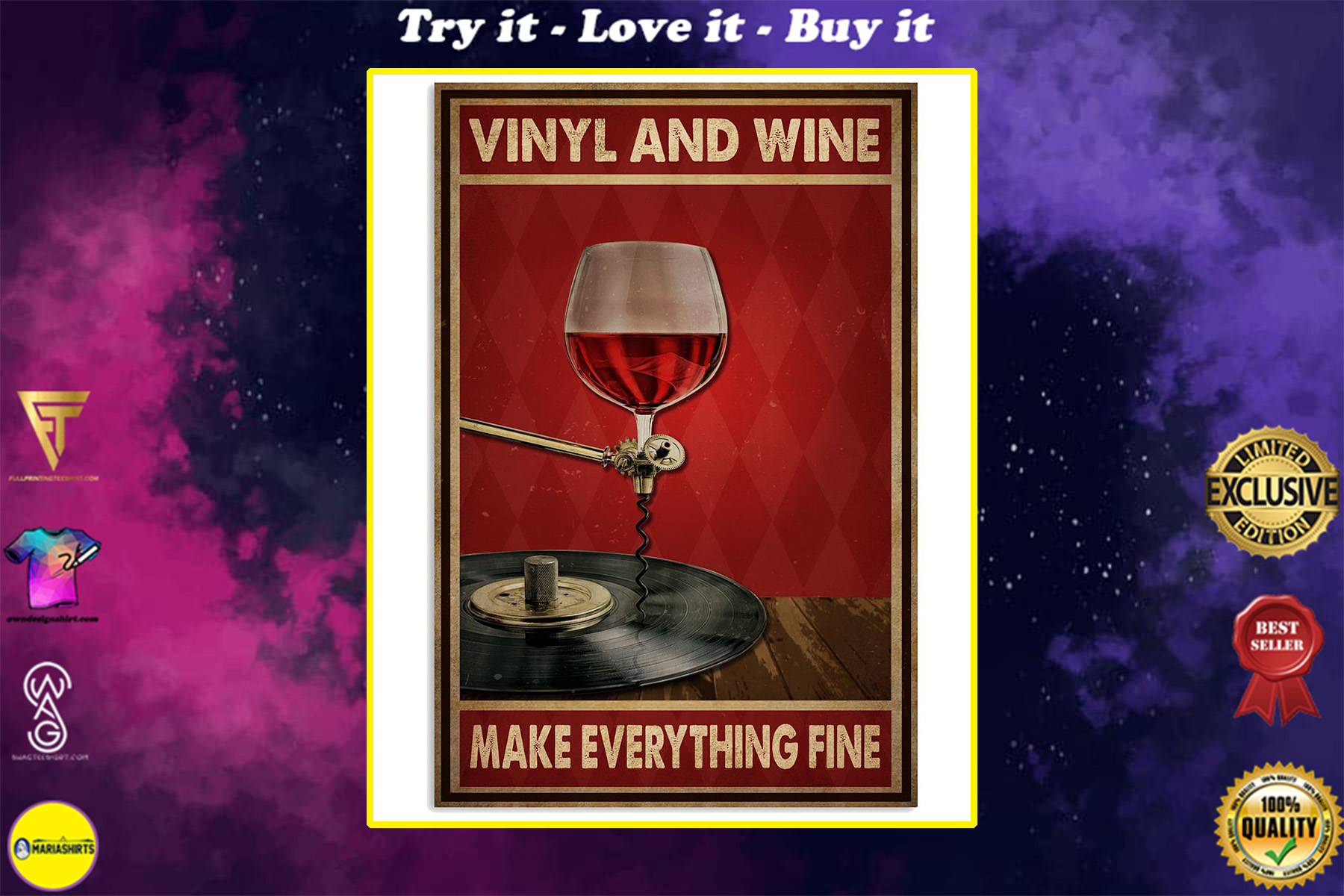 vinyl and wine make everything fine poster