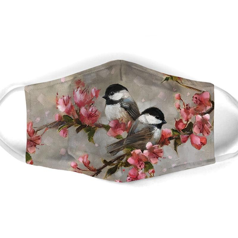 watercolor bird with flowers all over print face mask 1