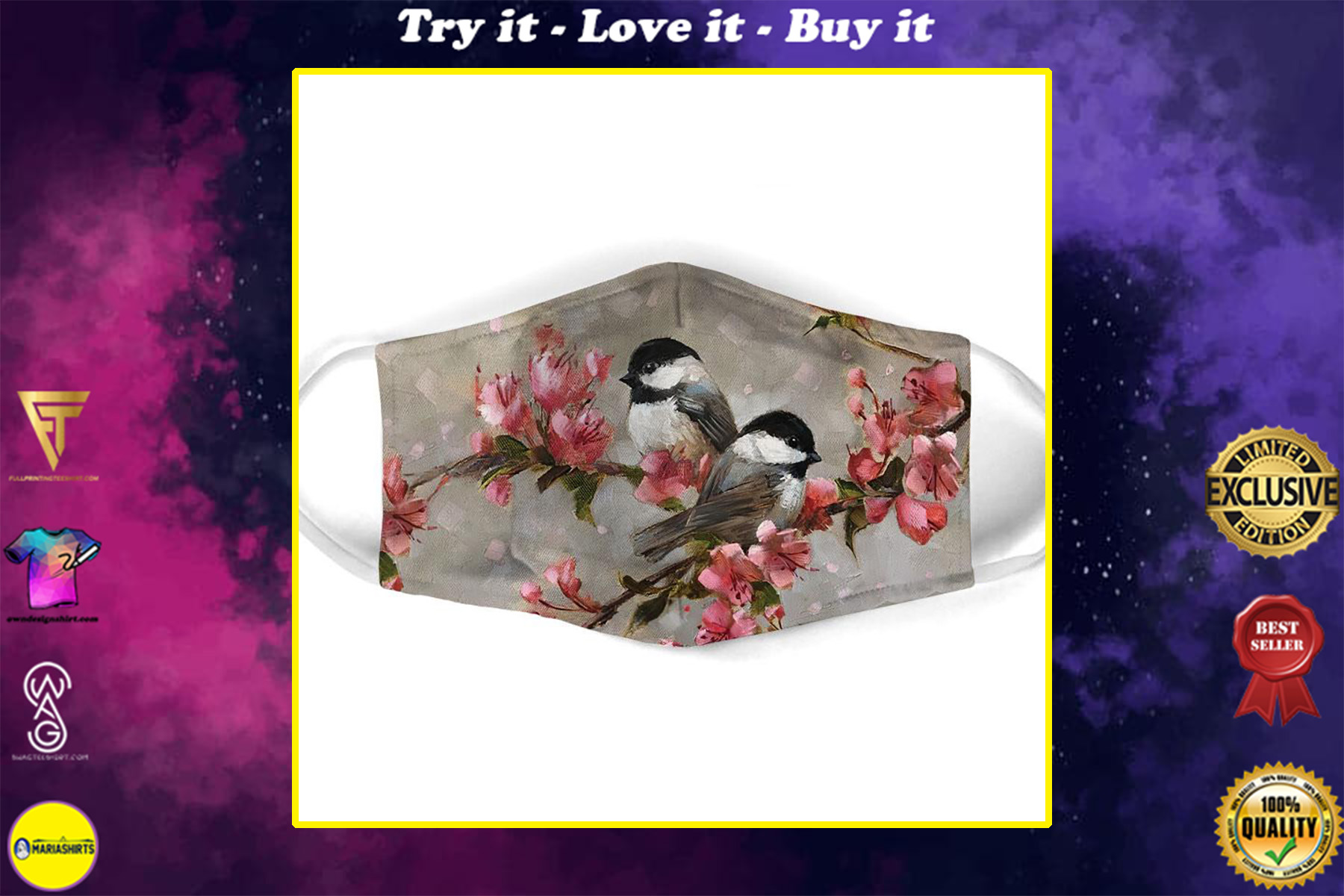 watercolor bird with flowers all over print face mask