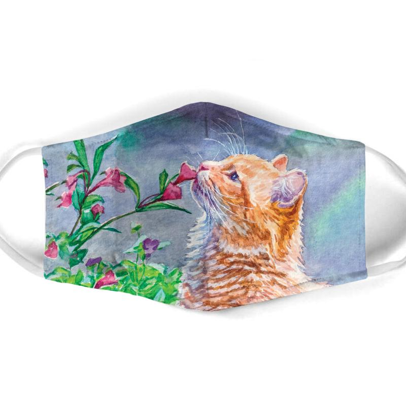 watercolor cat with flowers all over print face mask 1