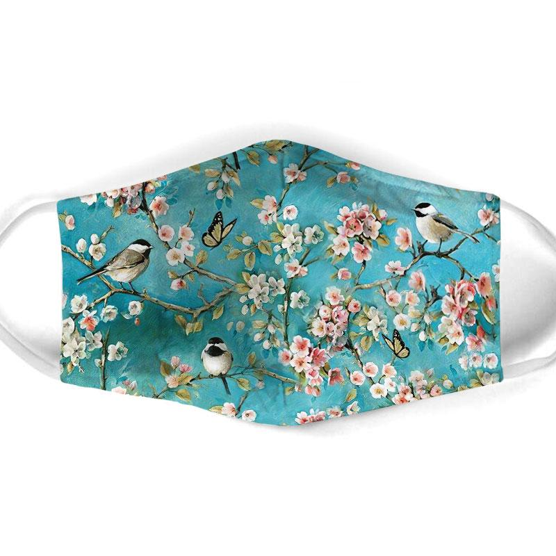watercolor flower and bird all over print face mask 1