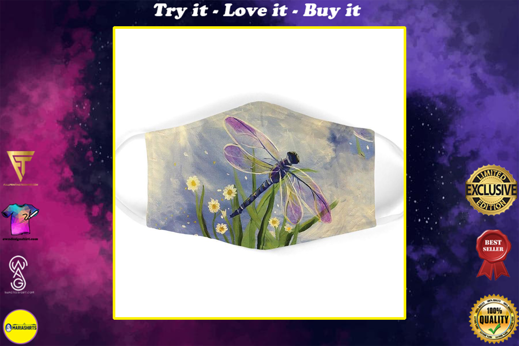 watercolor flower and dragonfly all over print face mask