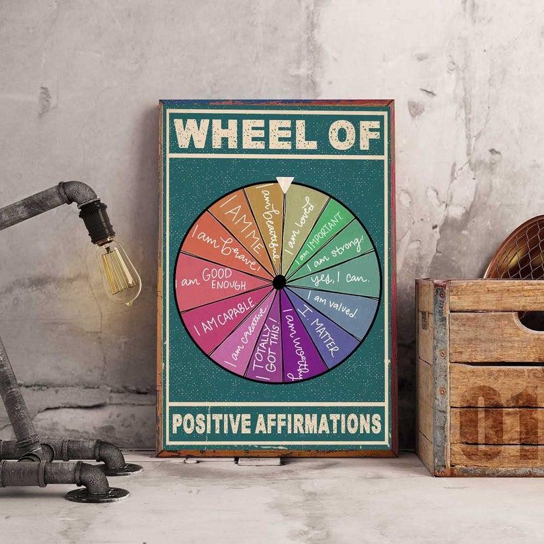 wheel of positive affirmation social worker poster 4