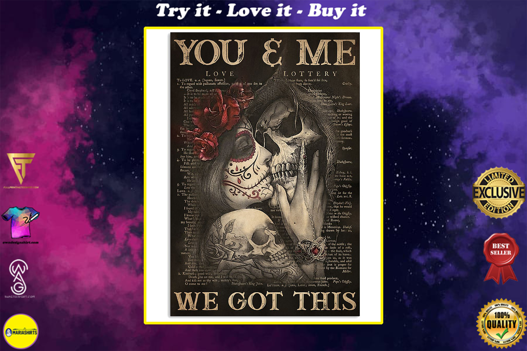 you and me we got this sugar skull couple poster
