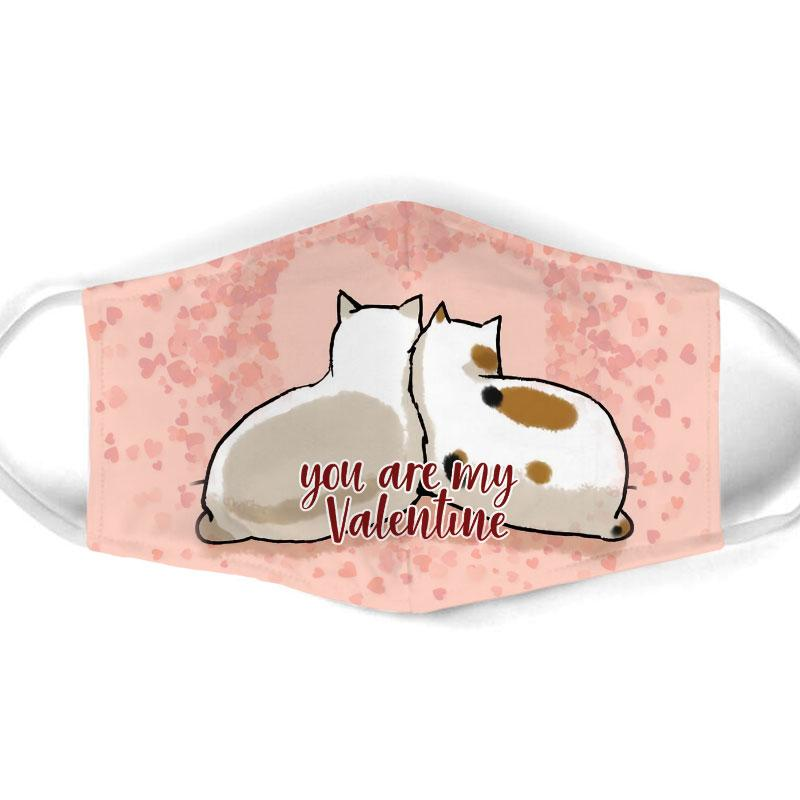 you are my valentine couple cat all over print face mask 1