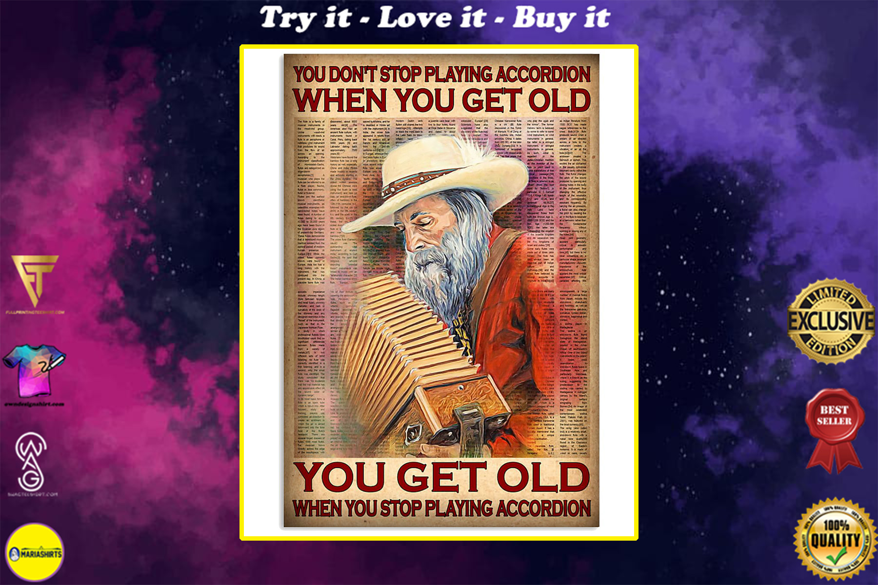 you dont stop playing accordion when you get old you get old when you stop playing accordion poster