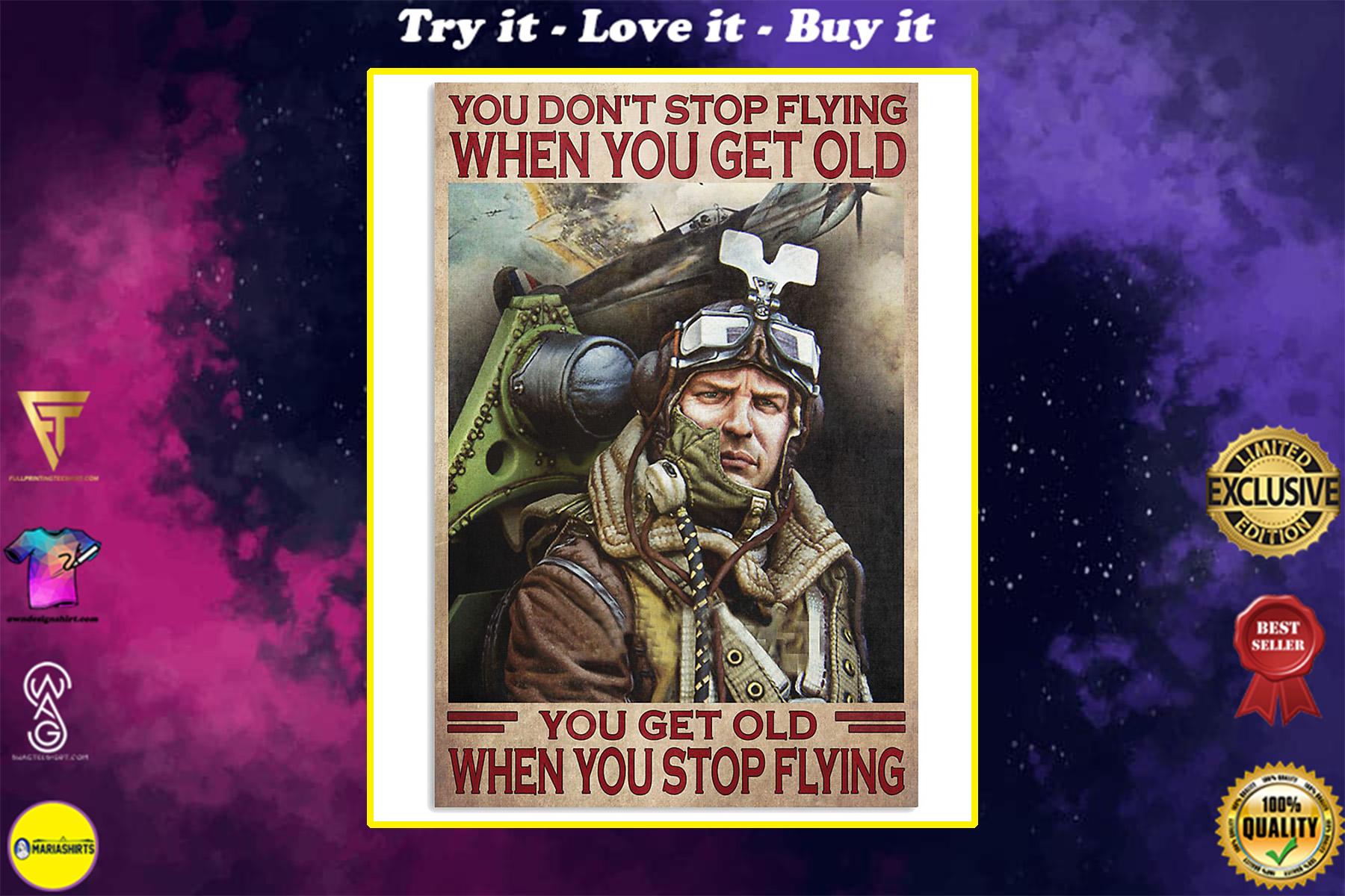you dont stop playing flying when you get old you get old when you stop playing flying poster