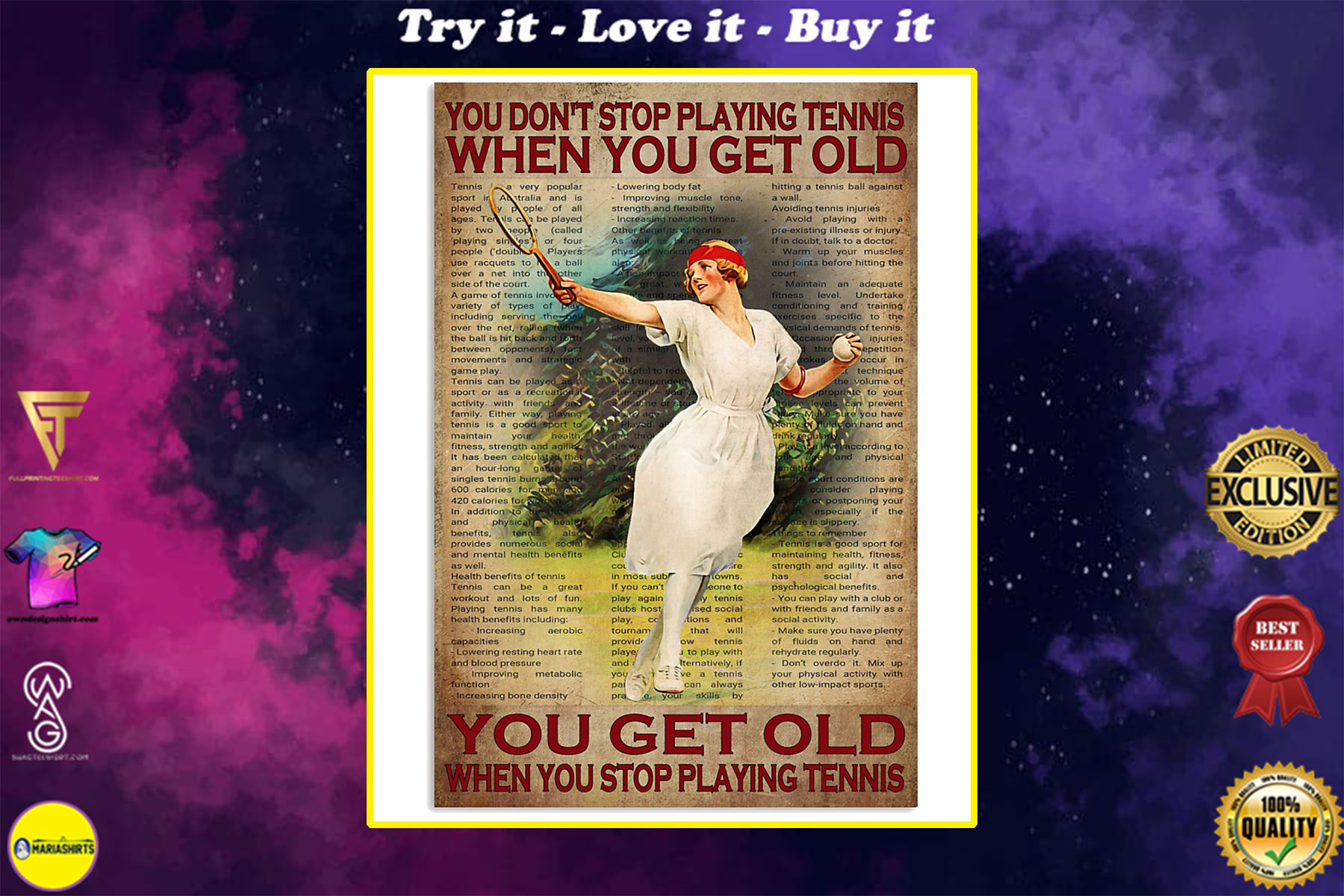 you dont stop playing tennis when you get old you get old when you stop playing tennis poster