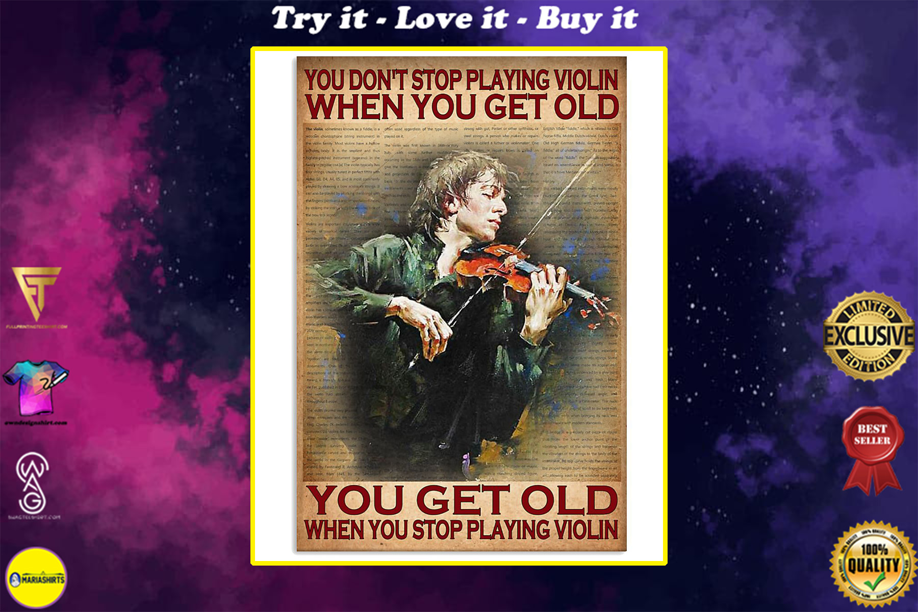 you dont stop playing violin when you get old you get old when you stop playing violin poster
