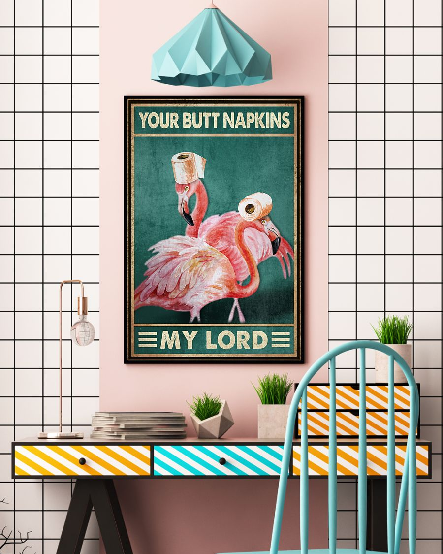 your butt napkins my lord flamingo toilet paper bathroom vintage poster 5