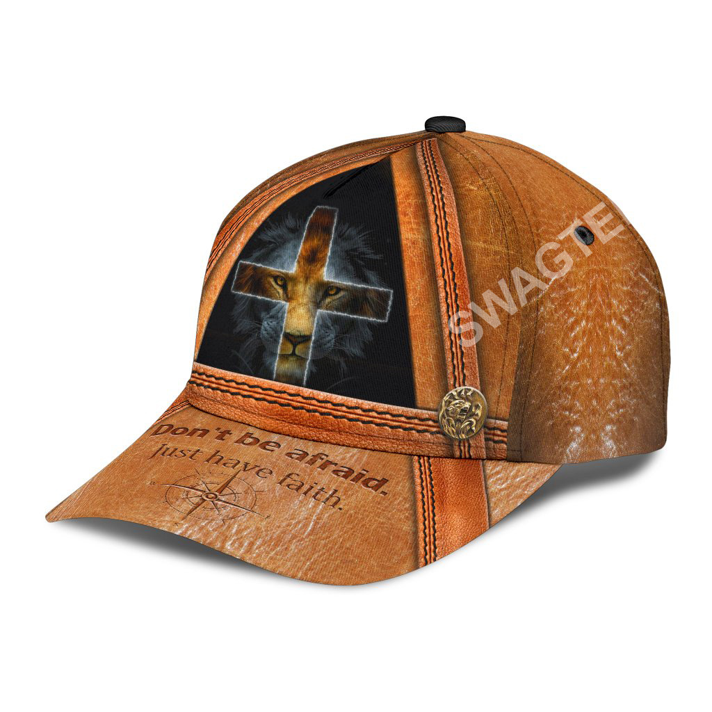 God and lion don't be afraid just have faith all over printed classic cap 3(1)