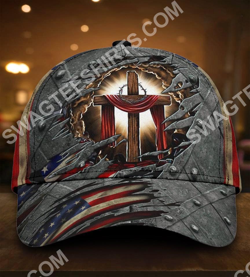 God cross usa flag all over printed classic cap 5(1)