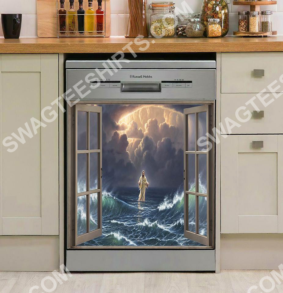 God walking on the water kitchen decorative dishwasher magnet cover 2
