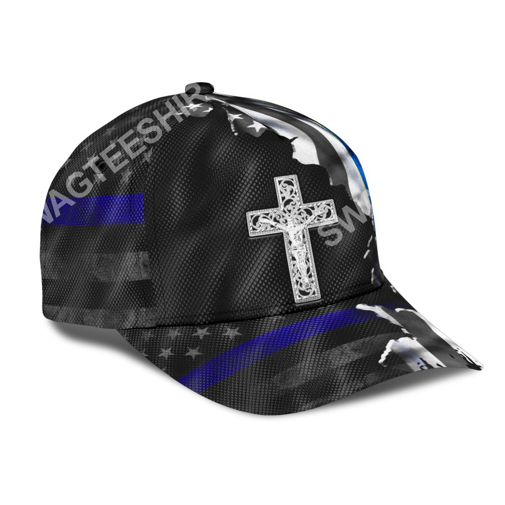 Jesus cross and back the blue all over printed classic cap 2(1)