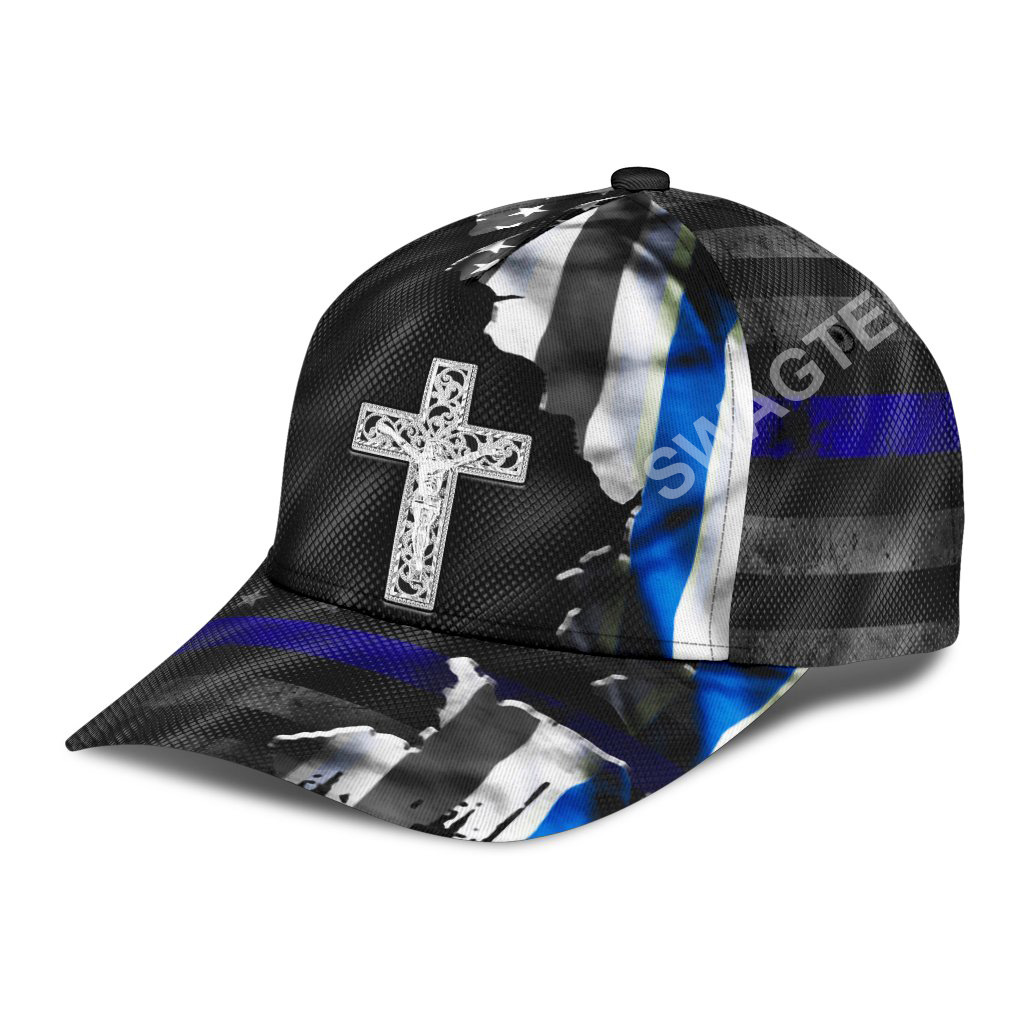 Jesus cross and back the blue all over printed classic cap 3(1)