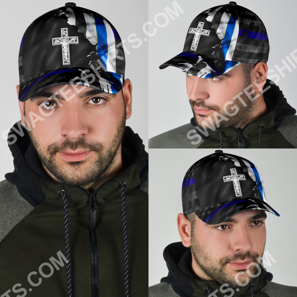 Jesus cross and back the blue all over printed classic cap 4(1)