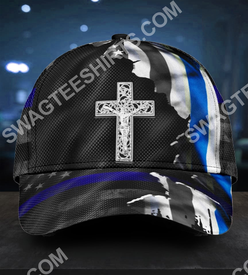 Jesus cross and back the blue all over printed classic cap 5(1)