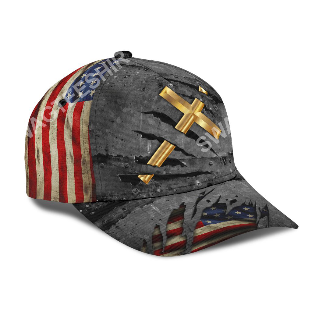 Jesus cross crack usa flag all over printed classic cap 2(1)