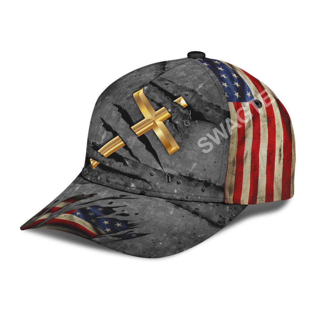 Jesus cross crack usa flag all over printed classic cap 3(1)