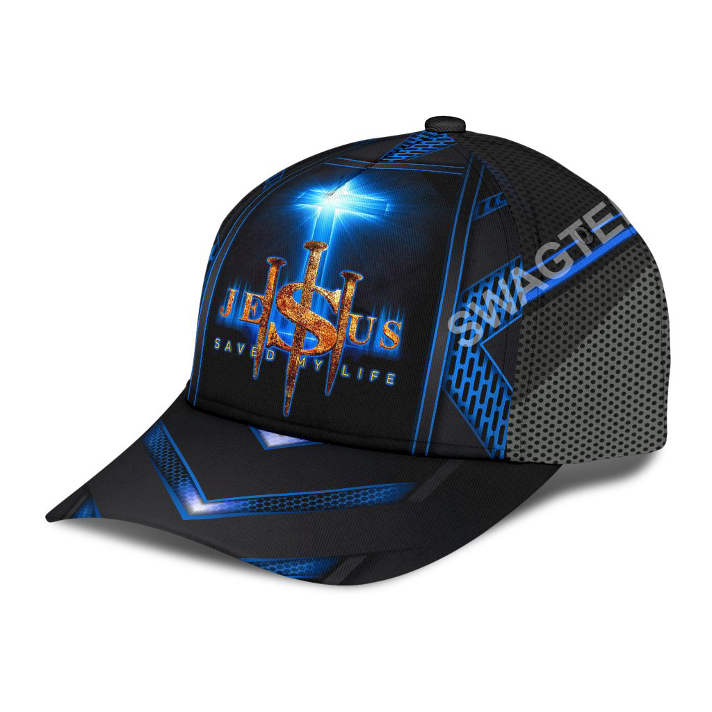 Jesus cross saved my life all over printed classic cap 3(1)