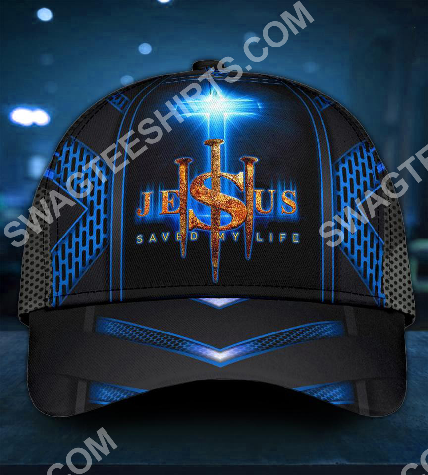 Jesus cross saved my life all over printed classic cap 5(1)