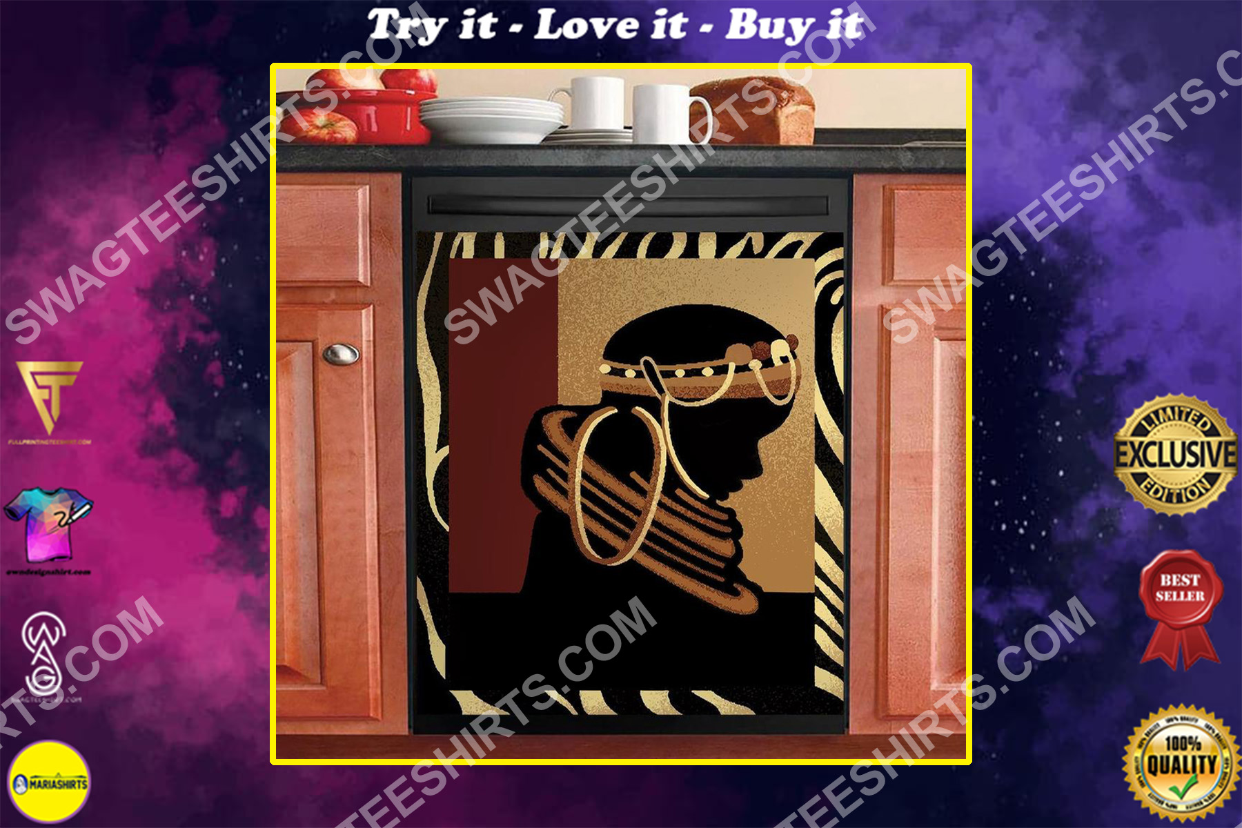 african women kitchen decorative dishwasher magnet cover