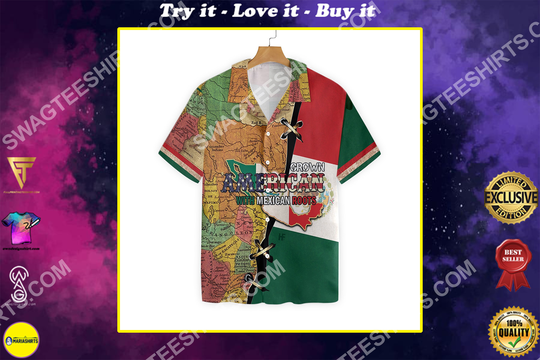 american grown with mexican roots all over printed hawaiian shirt