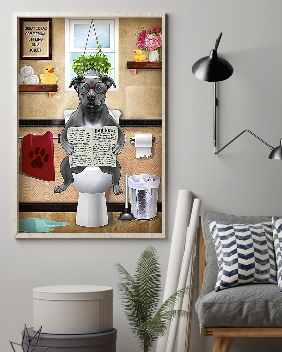 american pit bull great ideas sitting on toilet poster 2