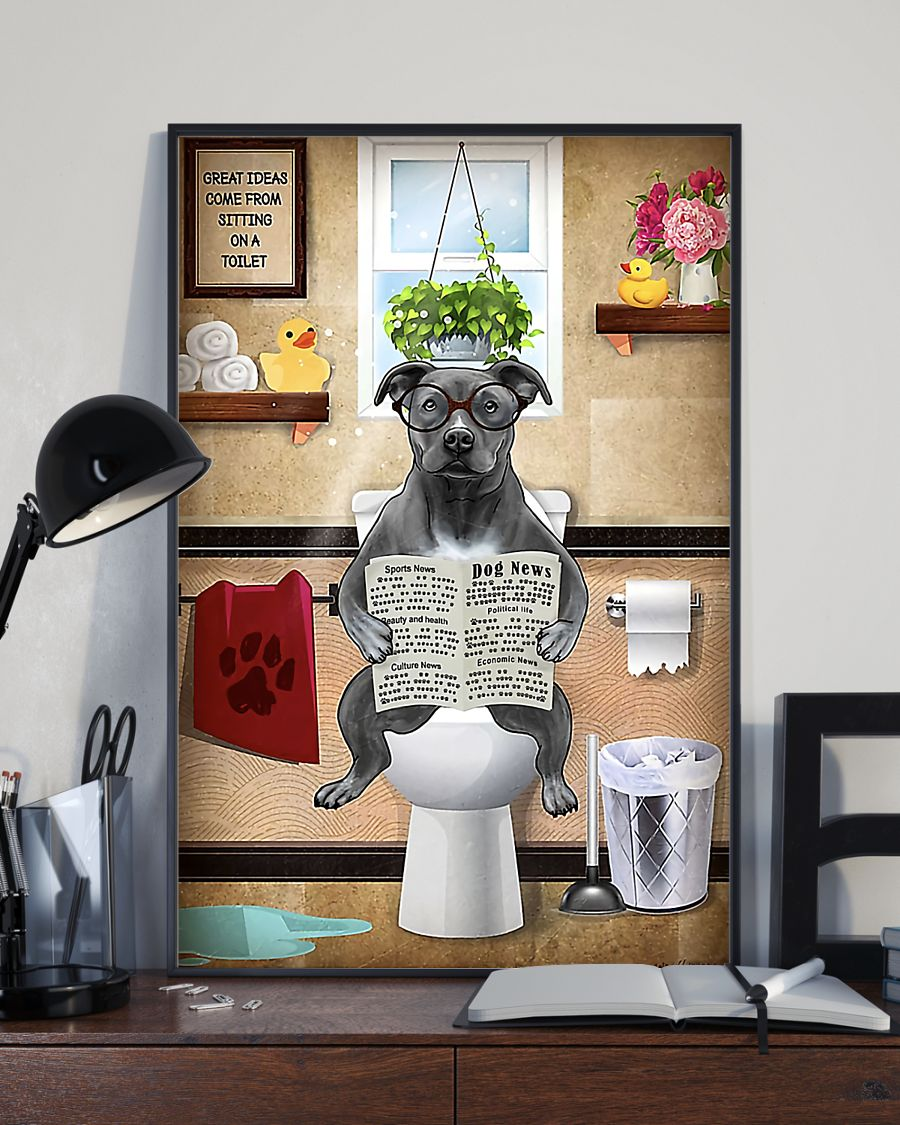 american pit bull great ideas sitting on toilet poster 3