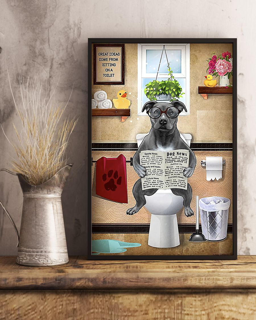 american pit bull great ideas sitting on toilet poster 5
