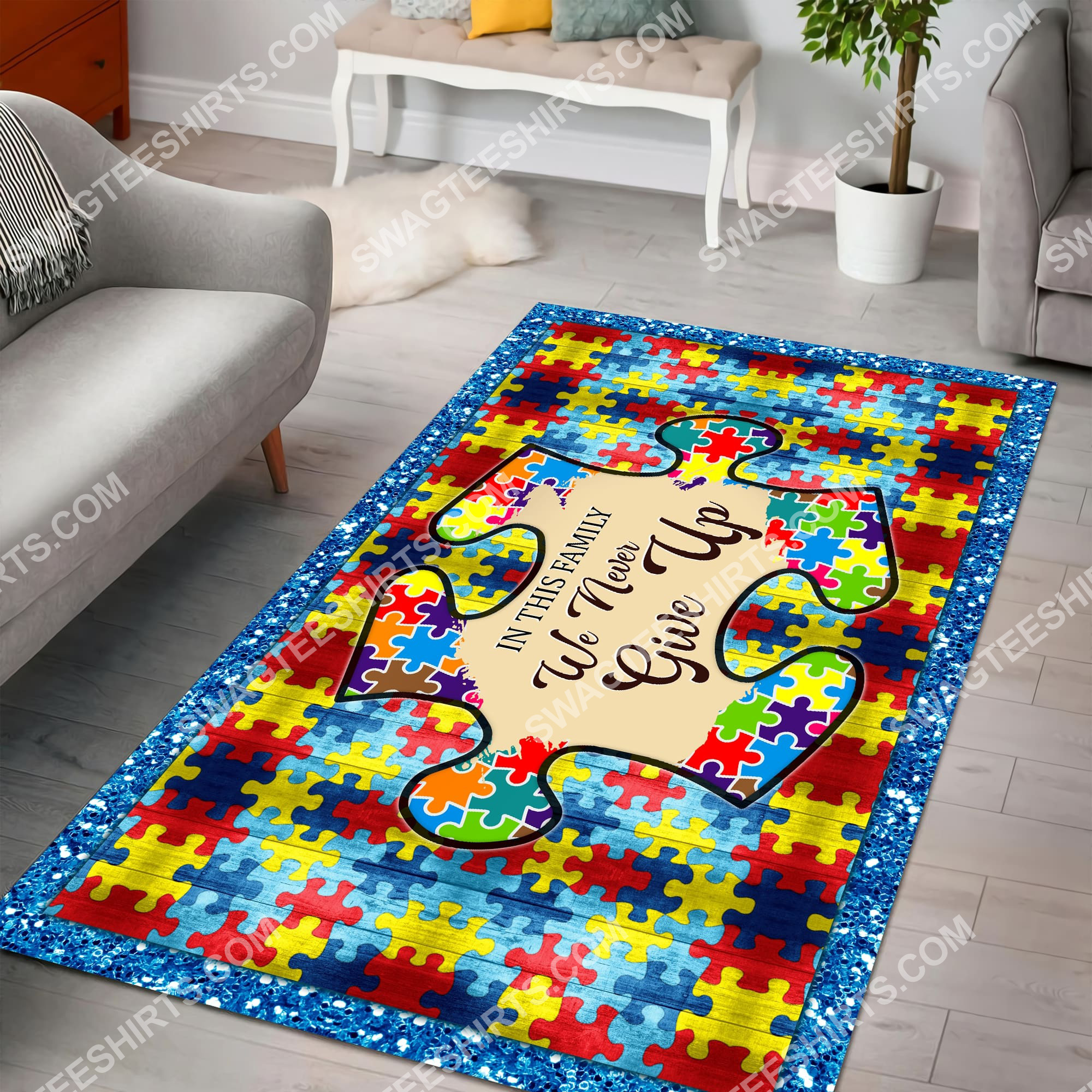 autism awareness in this family we never give up all over printed rug 2(1)