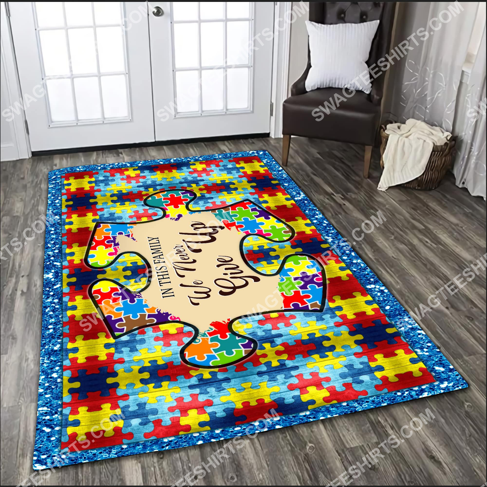 autism awareness in this family we never give up all over printed rug 3(1)