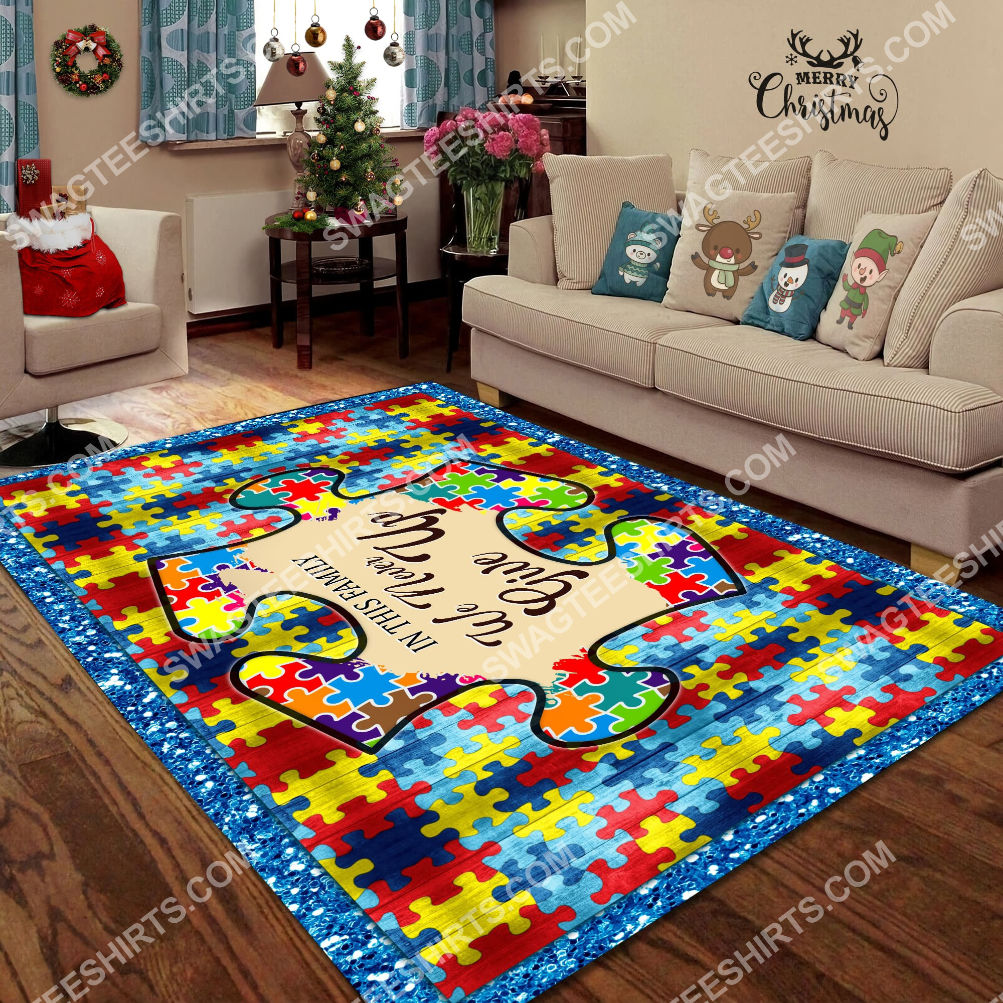 autism awareness in this family we never give up all over printed rug 4(1) - Copy