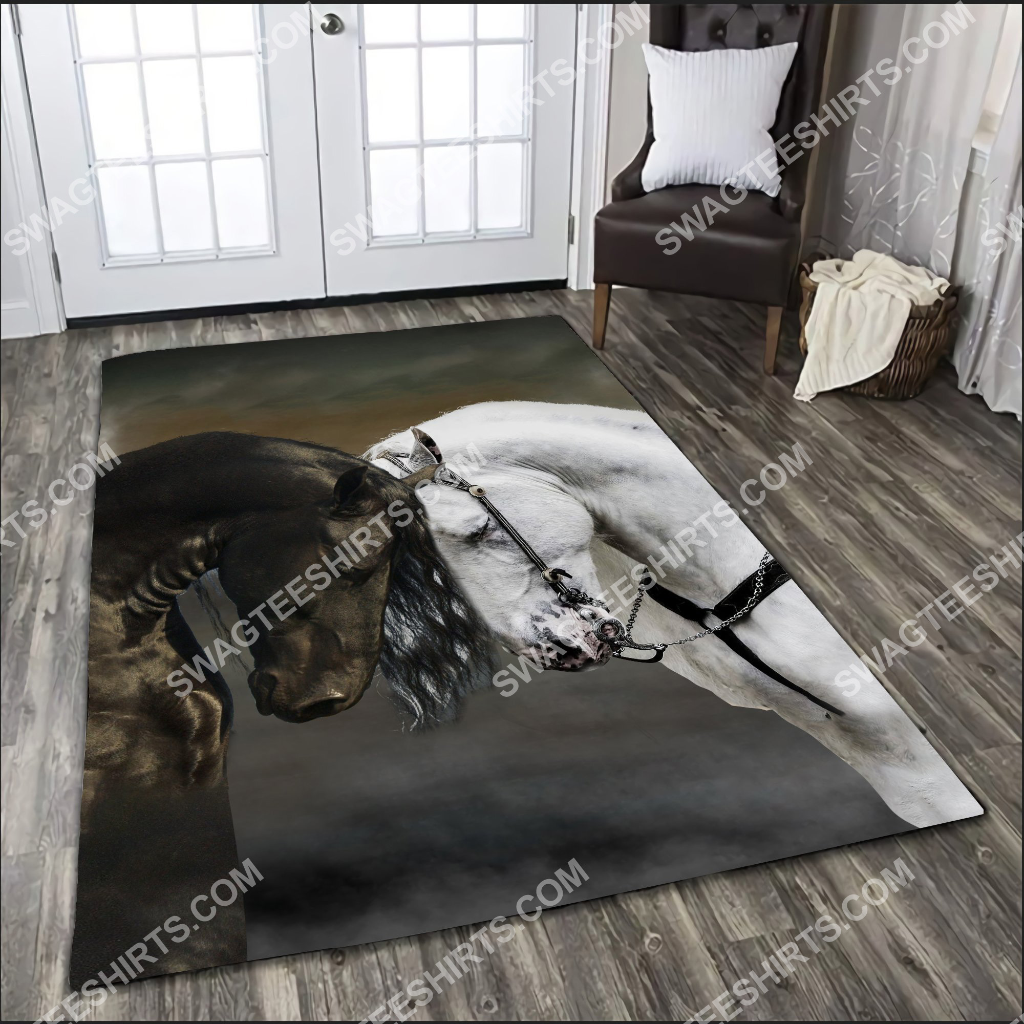 black and white horse couple all over printed rug 2(1)