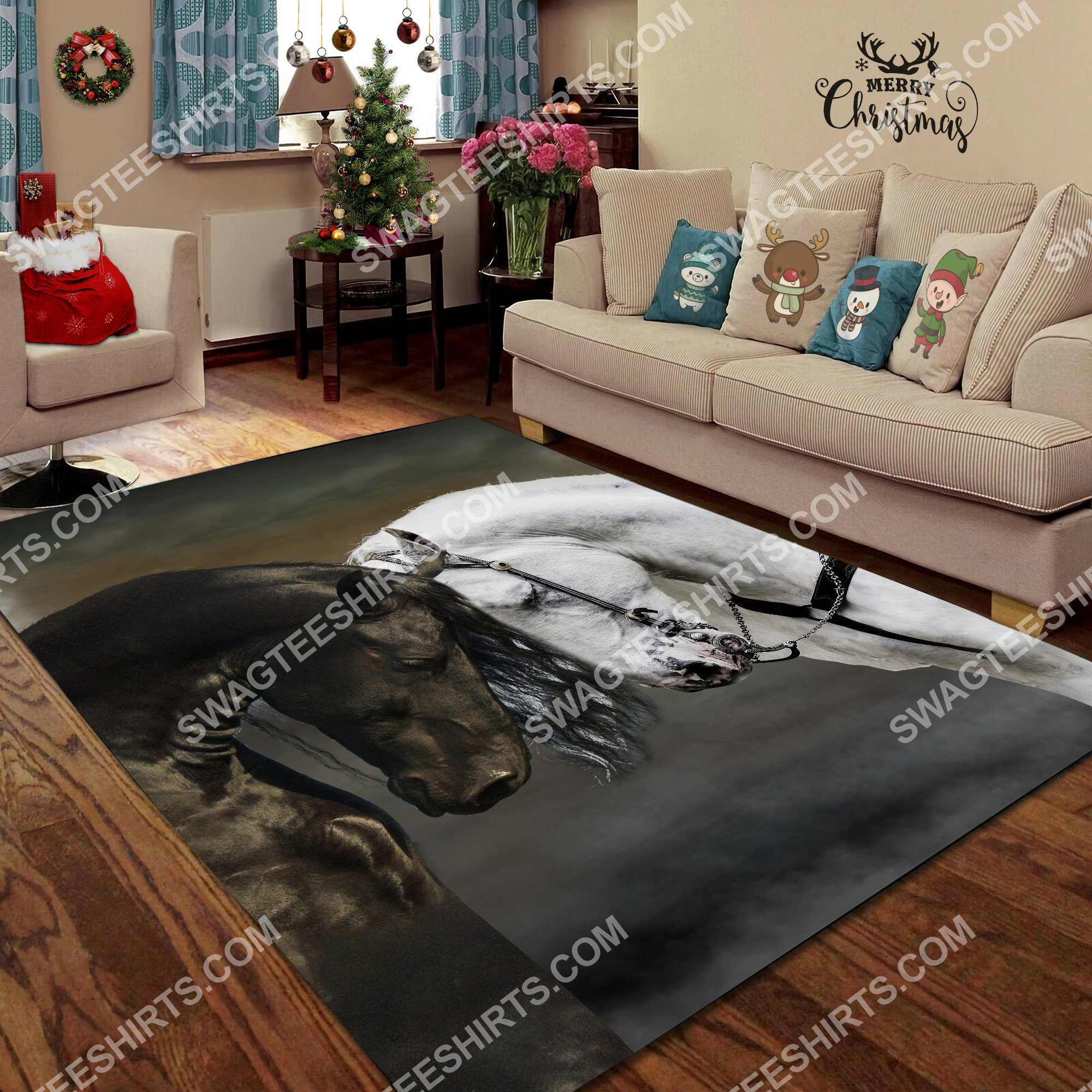 black and white horse couple all over printed rug 3(1)