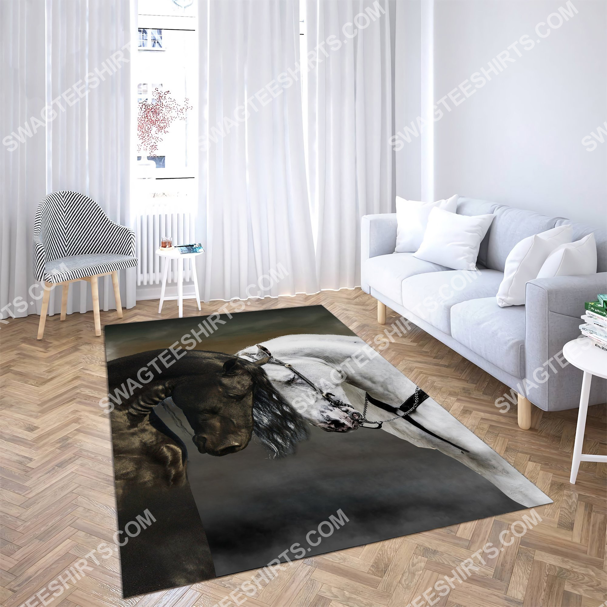 black and white horse couple all over printed rug 4(1)