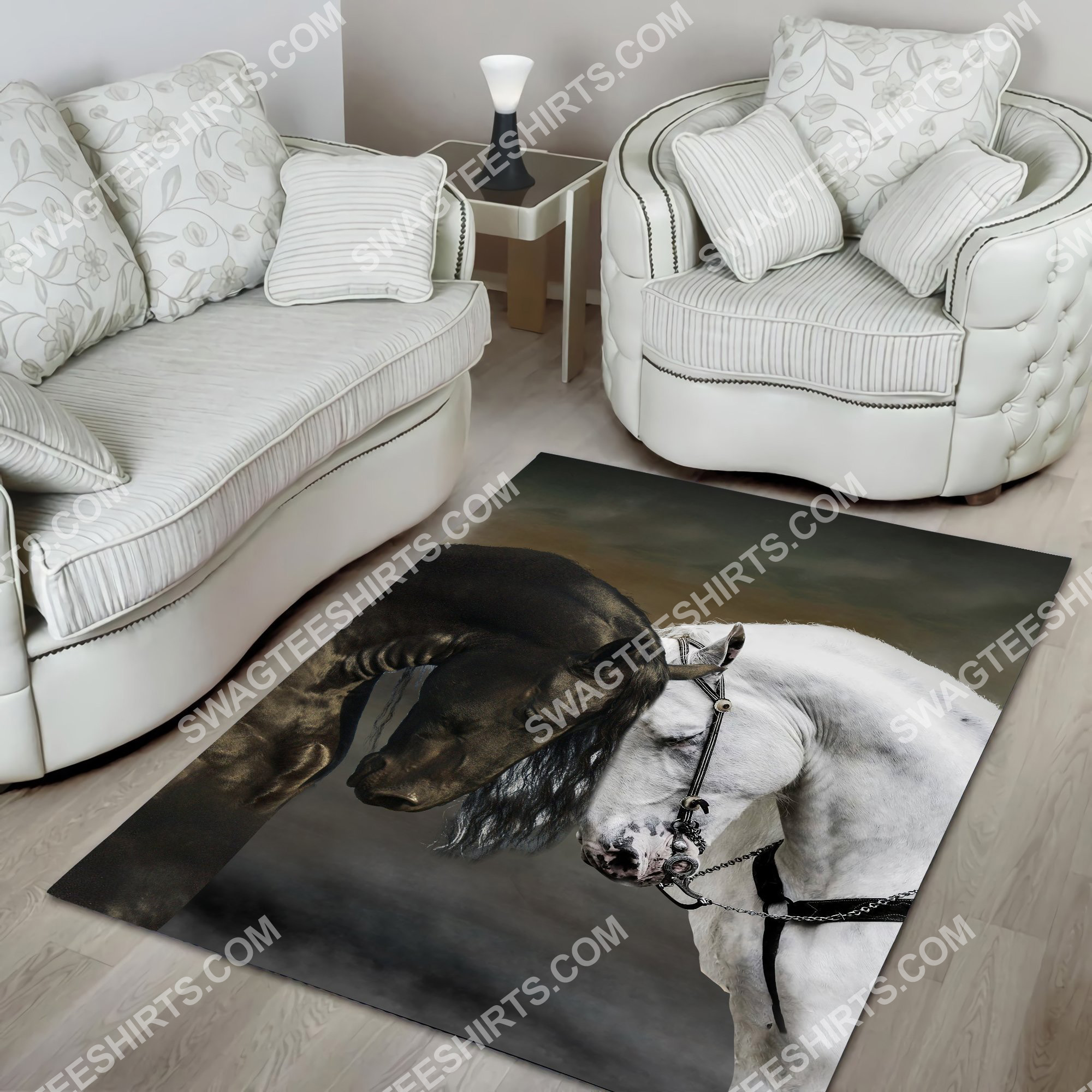 black and white horse couple all over printed rug 5(1)