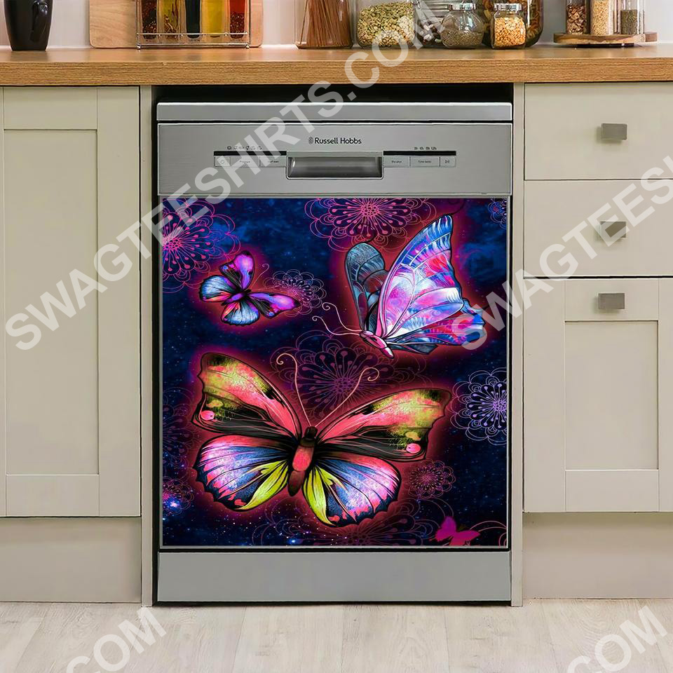 blue and pink butterfly kitchen decorative dishwasher magnet cover 2